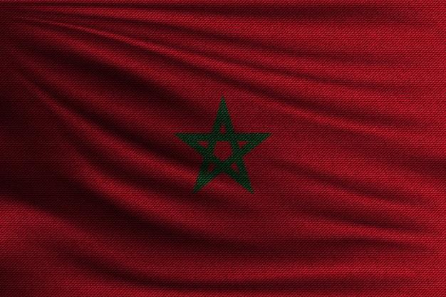 Die nationalflagge von marokko. Premium Vektoren