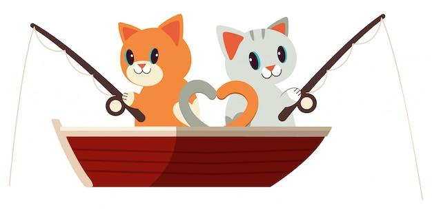 Die niedlichen katzen, die auf den roten beiden fischen. Premium Vektoren