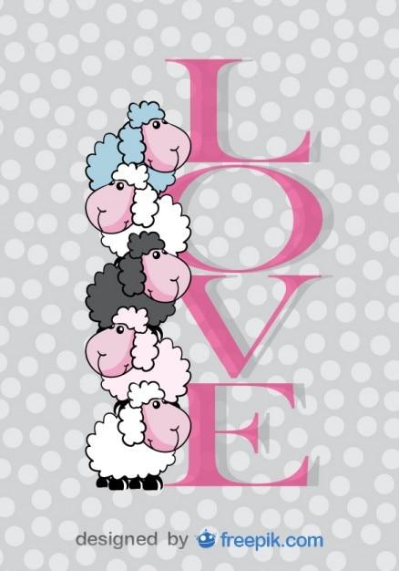 Die Niedlichen Schafe Valentinstag Karte Kostenlose Vektoren
