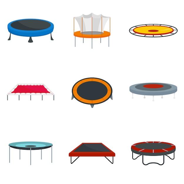 Die parkfreudeikonen der trampoline springen eingestellt Premium Vektoren