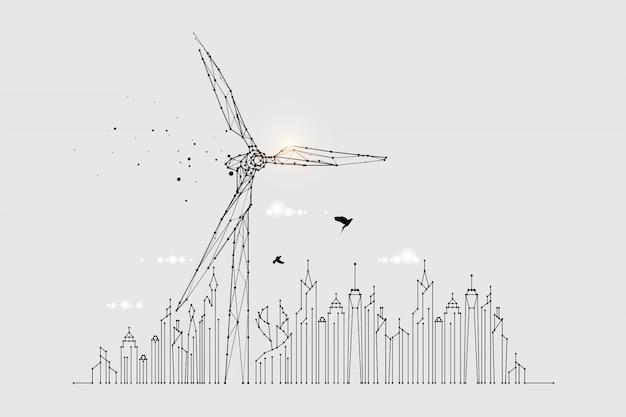 Die partikel, die geometrische kunst, die linie und der punkt der windkraftanlage Premium Vektoren