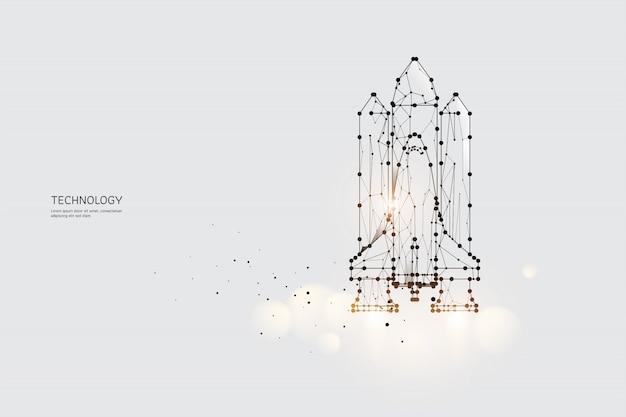 Die partikel, die geometrische kunst, die linie und der punkt des space shuttles. Premium Vektoren
