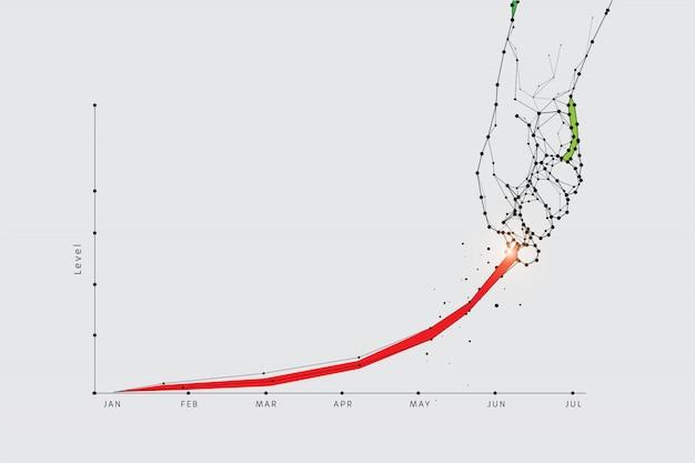 Die partikel, geometrische kunst, den graphen hochzuziehen Premium Vektoren