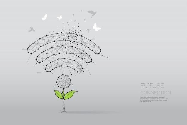 Die partikel, geometrische kunst, linie und punkt der drahtlosen symbolzusammenfassung Premium Vektoren