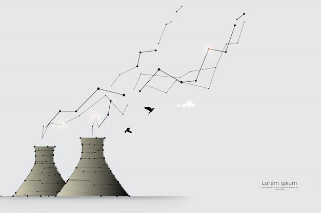 Die partikel, geometrische kunst, linie und punkt der fabrik. Premium Vektoren