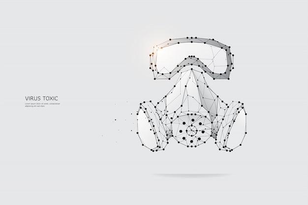 Die partikel, geometrische kunst, linie und punkt der schutzmaske Premium Vektoren