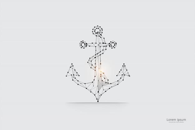 Die partikel, geometrische kunst, linie und punkt des ankers. Premium Vektoren