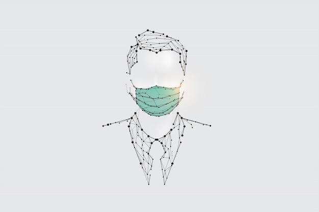 Die partikel, geometrische kunst, linie und punkt des menschen mit maske zum virenschutz Premium Vektoren