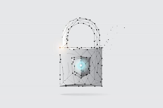 Die partikel, geometrische kunst, linie und punkt des schlüssels Premium Vektoren