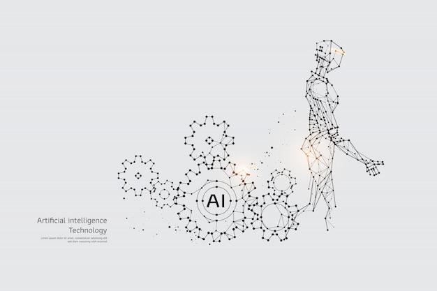 Die partikel, geometrische kunst, linie und punkt von gear und robot Premium Vektoren