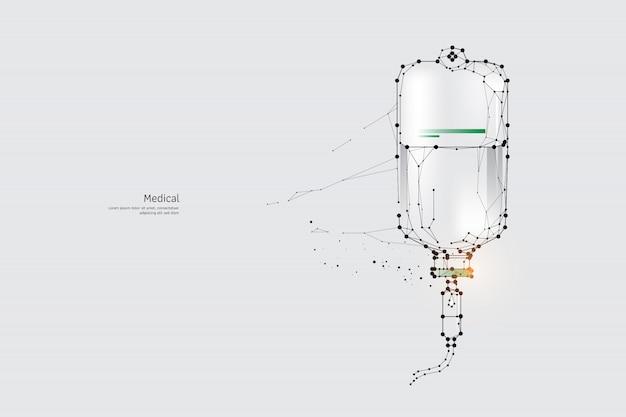 Die partikel, geometrische kunst, linie und punkt von medical Premium Vektoren