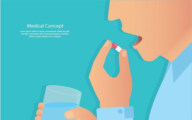 Die pillen nehmen. konzept der medizinischen Premium Vektoren
