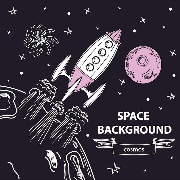 Die rakete startet von der oberfläche des planeten. Premium Vektoren