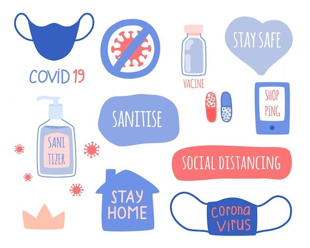 Die reihe der elemente des konzepts von coronavirus, hygiene und medizin. Premium Vektoren