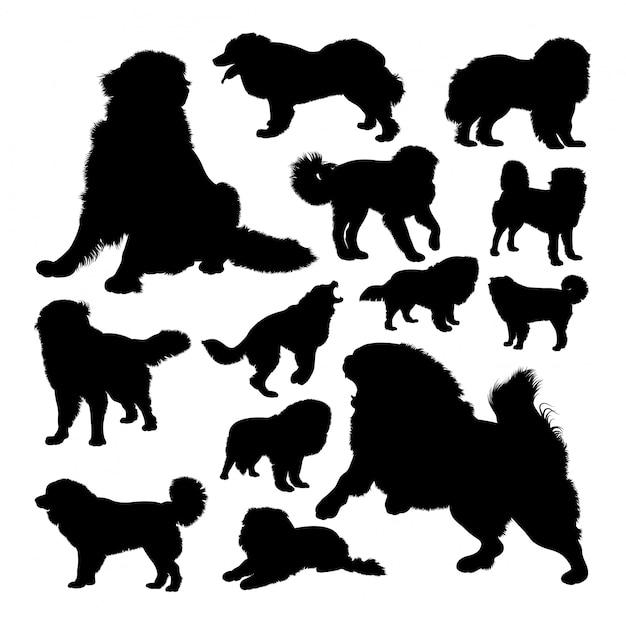 Die russischen bärenhunde-silhouetten Premium Vektoren
