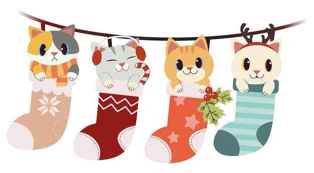 Die sammlung der netten katze in der großen socke stellte in das weihnachts- und winterthema ein Premium Vektoren