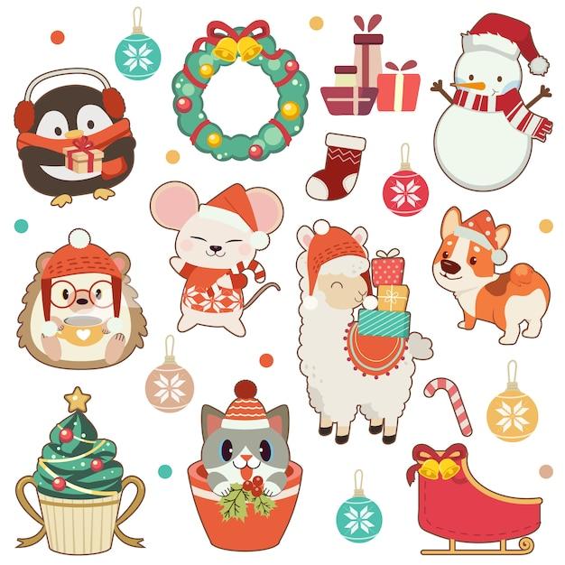 Die sammlung des netten tieres im weihnachtsthema stellte in weiß ein. der nette pinguin und igel und maus und alpaka amd corgihund und nette katze und schneemann. das süße tier im flachen stil Premium Vektoren