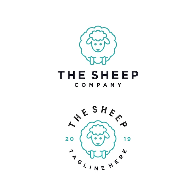 Die schaf-cartoon-charakter-vektor-logo-design-vorlage Premium Vektoren