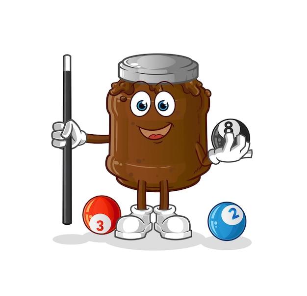 Die schokoladenmarmelade spielt billardcharakter. cartoon maskottchen Premium Vektoren