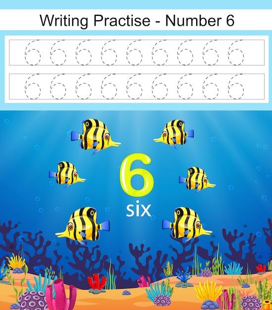 Die schreibpraxis nr. 6 mit schönen fischen Premium Vektoren