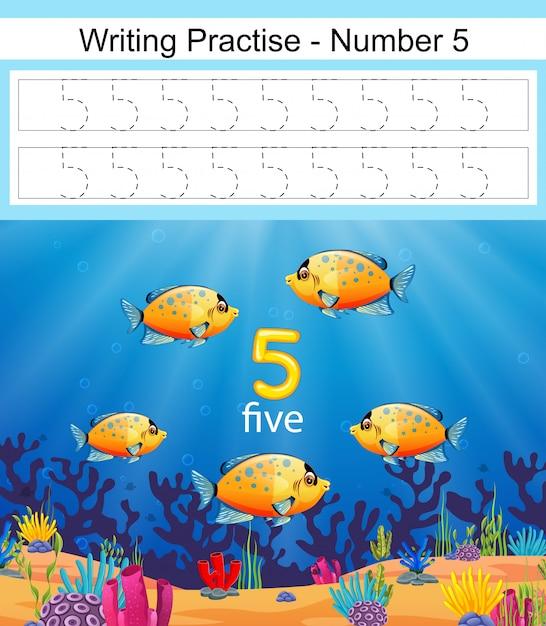 Die schreibpraxis nummer 5 mit fisch in tiefblauem meer Premium Vektoren