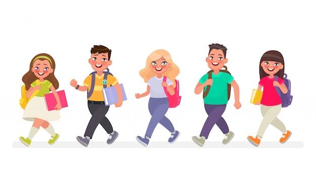 Die schüler gehen in die grundschule Premium Vektoren