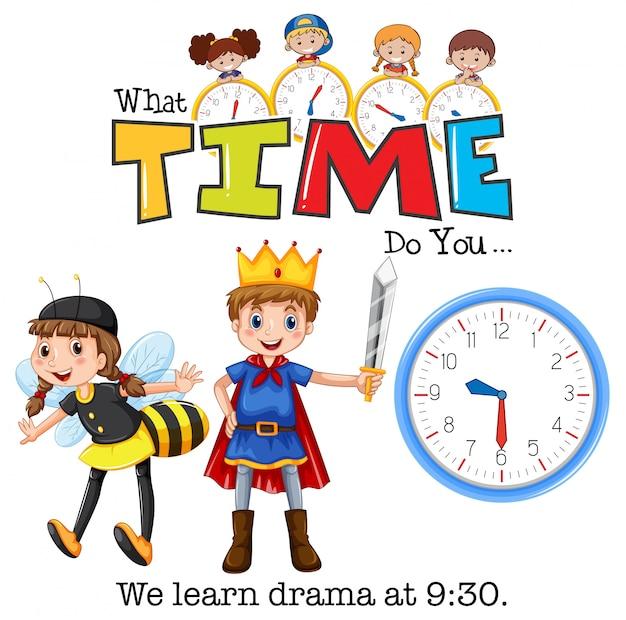 Die schüler lernen um 9:30 uhr drama Kostenlosen Vektoren