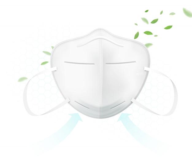 Die schutzmaske n95 schützt vor viren. Premium Vektoren