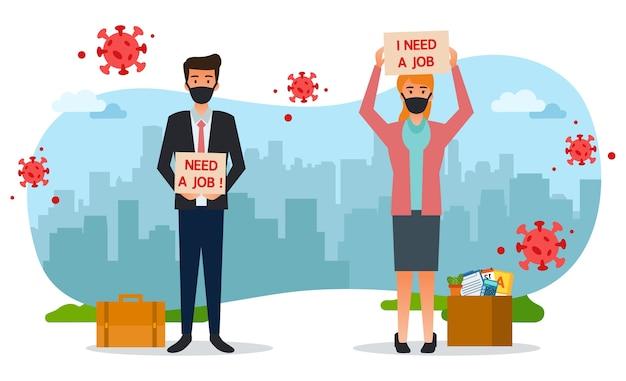 Die schwierigkeit der beschäftigung hat dazu geführt, dass diese beiden arbeitslosen inmitten der pandemie schwierigkeiten haben, arbeit zu finden Premium Vektoren
