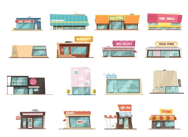 Die shopgebäudekarikatur, die mit minispeichersymbolen eingestellt wird, lokalisierte vektorillustration Kostenlosen Vektoren