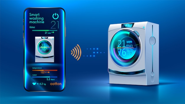Die steuerung des smartphones erfolgt über eine drahtlose verbindung über das internet mit einer intelligenten waschmaschine Premium Vektoren