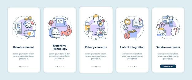 Die telemedizin fordert die integration des bildschirms der mobilen app-seite mit konzepten heraus Premium Vektoren