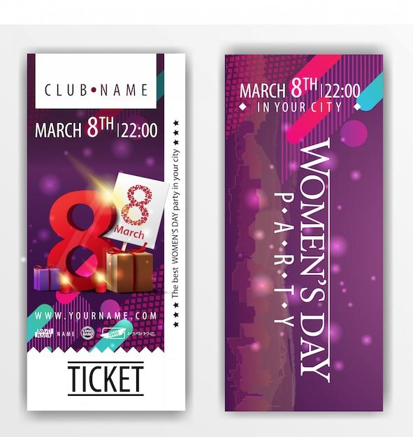 Die tickets für die party am frauentag mit geschenken Premium Vektoren
