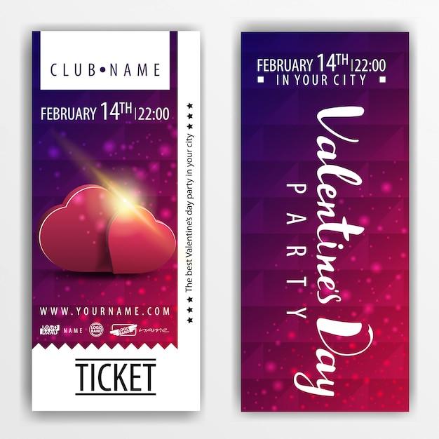 Die tickets für die party am valentinstag mit herzen Premium Vektoren