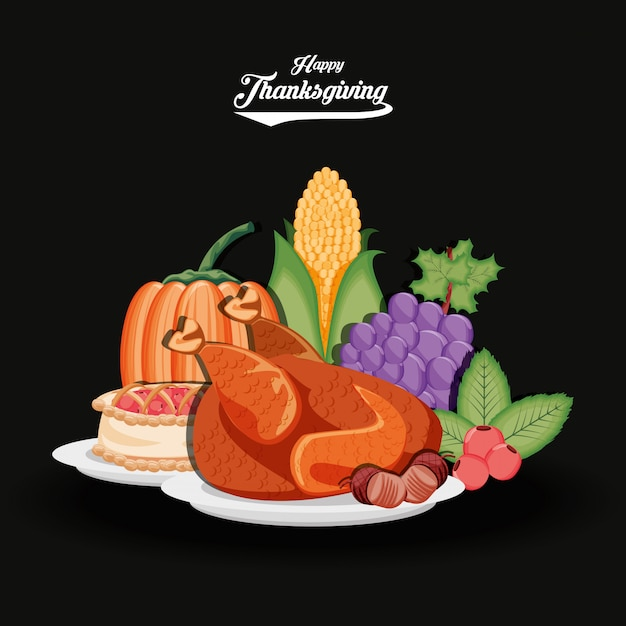 Die türkei mit trauben und lebensmittel des erntedankfestes Premium Vektoren