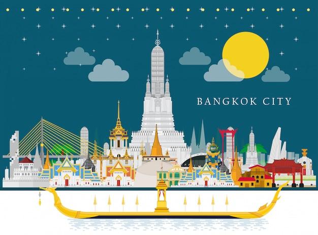 Die wahrzeichen von royal barge suphannahong und thailand Premium Vektoren