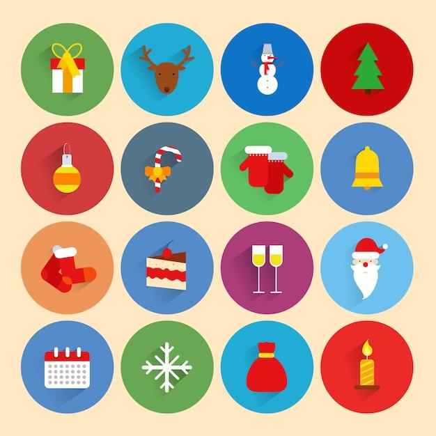 Die weihnachtsferienzeit-feierikonen des neuen jahres, die mit geschenkboxrotwild-schneemann eingestellt wurden, lokalisierten vektorillustration Premium Vektoren