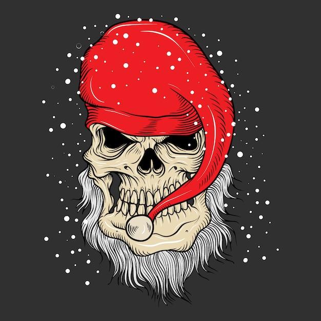 Die weihnachtsmann-schädelzeichnung Premium Vektoren