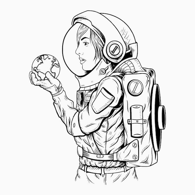 Die welt in deiner hand / astronaut Premium Vektoren