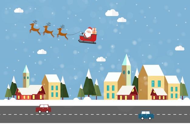 Die wintersaison beginnt. dorf mit weihnachtsbaum weihnachten santa claus fliegen in den himmel. Premium Vektoren