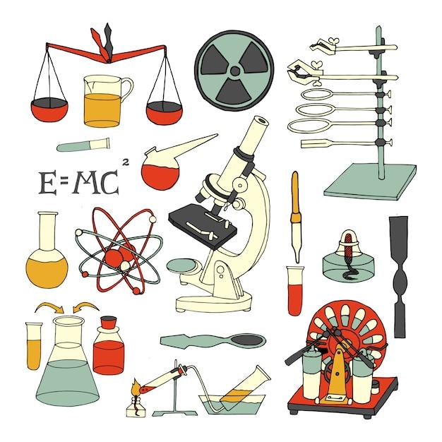 Die wissenschaftlichen dekorativen farbigen eingestellten skizzenikonen der wissenschaftschemie und -physik lokalisierten vektorillustration Kostenlosen Vektoren