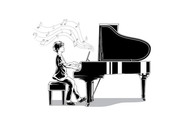 Die wunderbare pianistische illustration Premium Vektoren