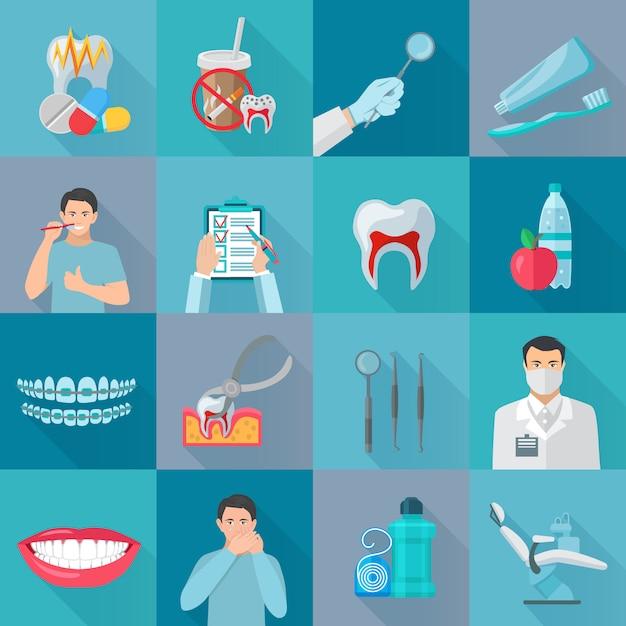 Die zahnmedizinischen elemente des flachen farbschattens, die mit instrumenten für zahnbehandlung und hygieneprodukte eingestellt wurden, lokalisierten vektorillustration Kostenlosen Vektoren