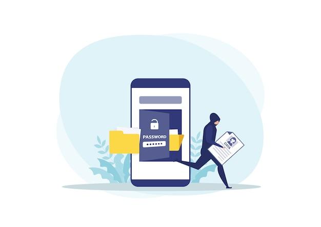 Dieb-angriff stehlen persönliche daten auf telefonkonzept Premium Vektoren