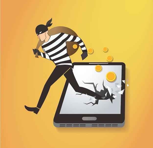Dieb-hacker stiehlt geld auf dem smartphone Premium Vektoren