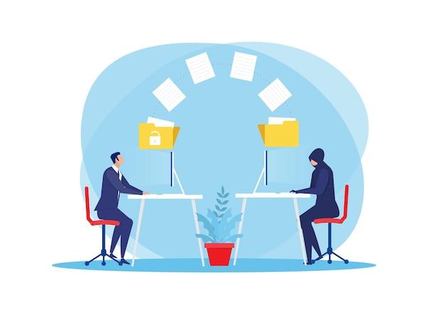 Dieb herunterladen oder übertragen persönliche daten auf laptop-hacker-konzept illustrationthief herunterladen oder übertragen persönliche daten auf laptop-hacker-konzept illustration Premium Vektoren