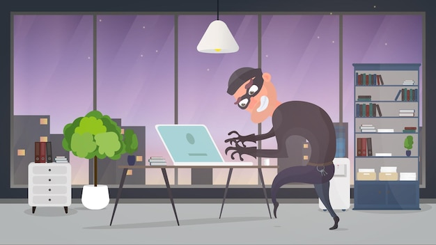 Dieb im haus. ein räuber stiehlt daten von einem laptop. sicherheitskonzept. dieb mann stiehlt eine wohnung. ein räuber hat ein haus ausgeraubt. flacher stil. vektorillustration. Premium Vektoren