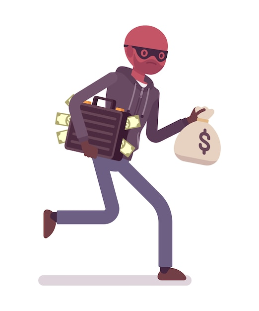 Dieb rennt mit gestohlenem geld davon Premium Vektoren