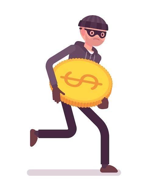Dieb rennt mit gestohlener goldmünze davon Premium Vektoren