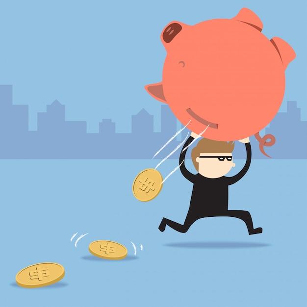 Dieb stiehlt sparschwein, aber münzen fallen heraus Premium Vektoren